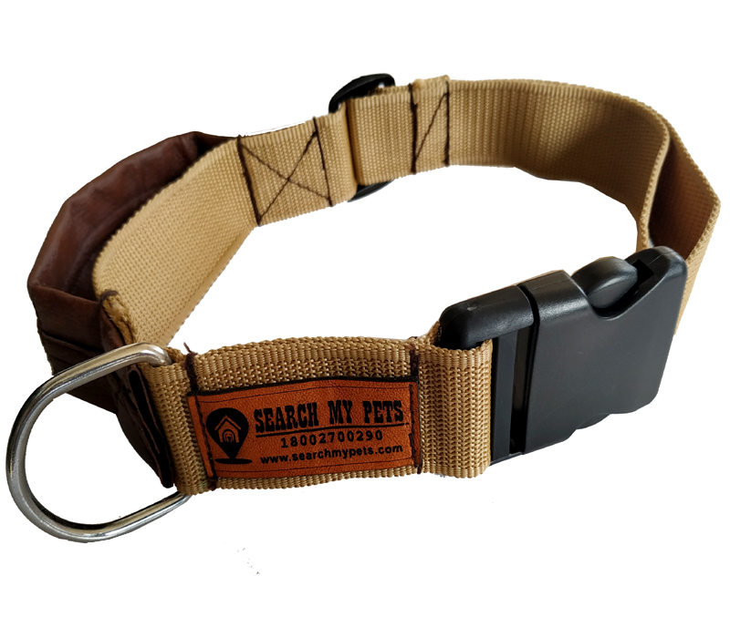 Smart Dog Collar (Camel Color) with leather Grip