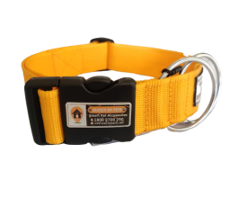 Yellow 1.5 Inch Standard Smart Dog Collar, Anti-lost Dog collar